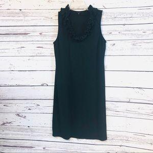 Talbots black ruffled neck dress